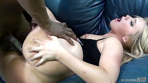 Sideways white slut gets violated by big black penis AJ Applegate