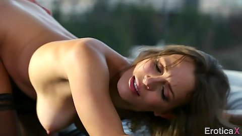 Doggy style Lily Love and cowgirl on dick riding