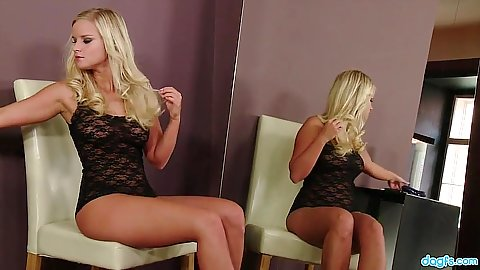 Lingerie solo blonde  stripping down with Miela