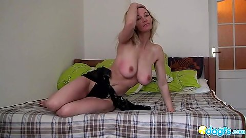 Posing mom with awesome boobies spreads her legs and shows hole
