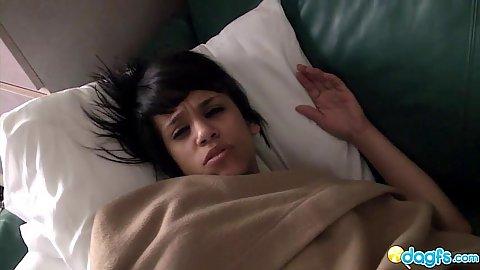 Latina jerking dick after being woken up form sleep a nice Morena