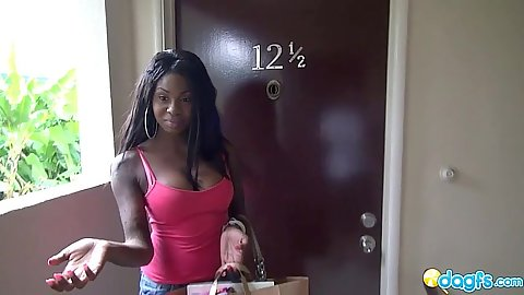 Ebony babe with great tits flashes pussy in the hall