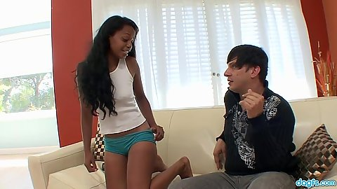 Raylen teen with great black booty sucks man an gets her hole finger fucked