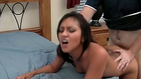 Fast and awesome tattoo latina fuck over her bed
