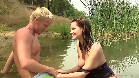 Nice looking college teen couple have sex outdoors with Rita
