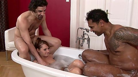 Bathtub interracial threesome with black cock white girl Zuzana Z suck