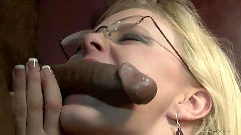 Clayra Beau biting blowjob in glasses with natural breast