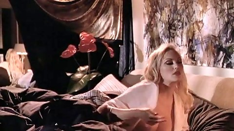 Stacy Valentine solo in bed and then changing