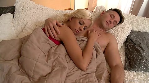 Sleeping with blond in red lingerie party Jessie Volt