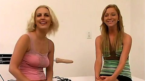 Alexa Lynn and Tiffany Rose two fully clothed girls try out a machine