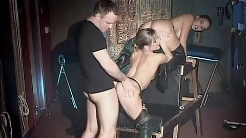 Threesome standing fuck and hairy blowjob Louise Parker and Poppy Morgan