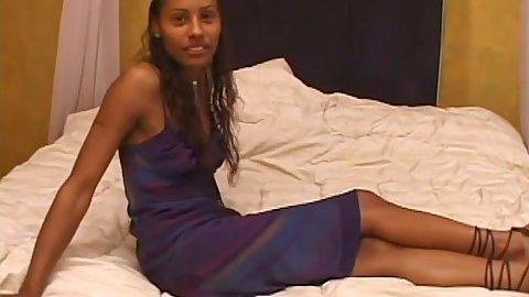 Skinny black girl Lovely stripps naked and sucks penis in pov