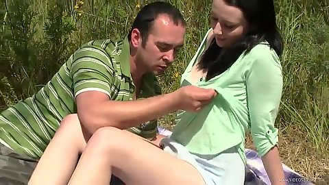 Outdoor picnic undressing and touch young teen girl