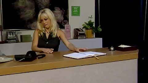 Blonde Candi Cash fully clothed receptionist