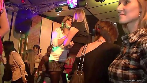 College girls hit a party place to get happy and wild with dancing