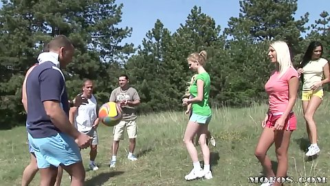 Hot babes out in the forrest playing soccer