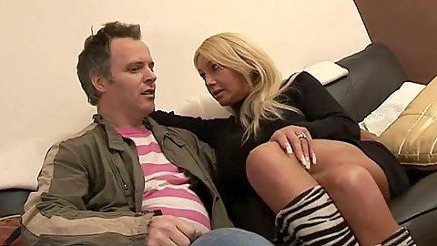 Milf Samantha Bond blowjob half dressed with cock pulled from pants