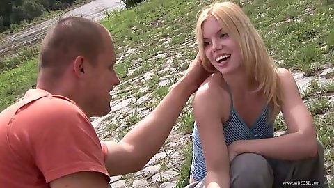Nice 18 year old Kala Ferard outdoor undressing during camping
