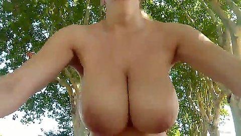 Outdoor park road naked girl goes biking Katarina Dubrova