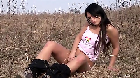 Claudia relaxing outdoors and doing a great teen talent video
