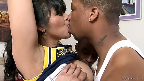 Asian cheerleader Mika Tan fucks black dicks in gang bang