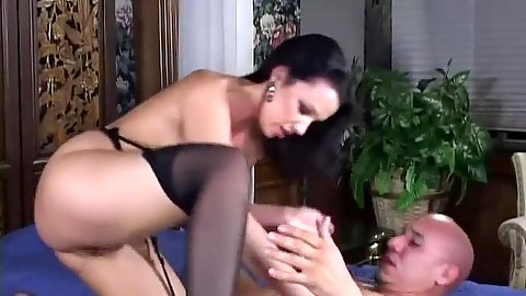 Stockings cowgirl nympho fuck and handjob