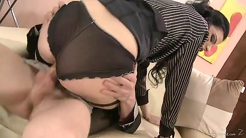 Pulled aside panties cowgirl sex from Alexandra Gold in lingerie
