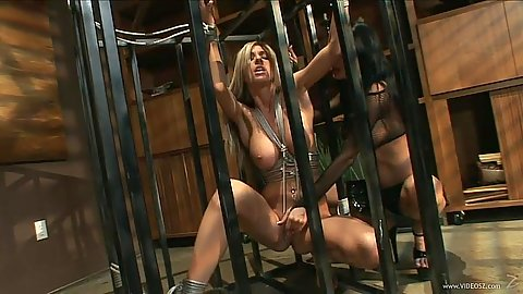 Tied up and caged up fetish girls Sammie Rhodes and Alektra Blue
