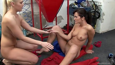 Floor fucking from lesbian mechanics Emma Diamond and Kirsten Plant