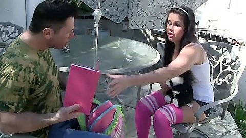 Outdoors with teen Cali Rider in cute tight shorts