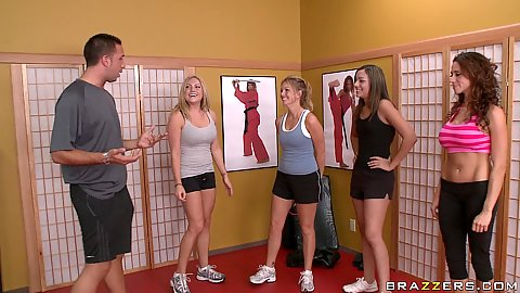 Hot busty chicks coming for a private karate lesson