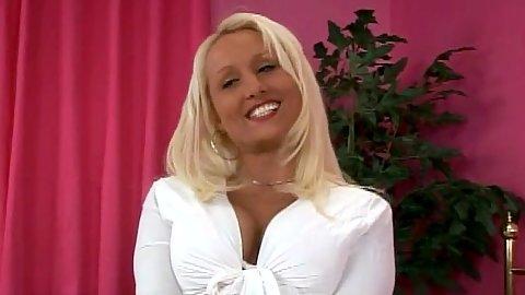 Natasha Stone blonde milf getting naked and sucking cock wearing just panties milf