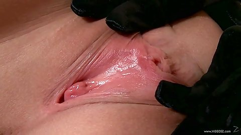 Shaved pussy close up view inside her wet hole Tara Pink