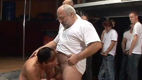 Group of men get a blowjob from mature grandma Cica in gang bang