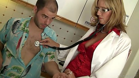 Sexy doctor milf in lingerie Jody West gives male patient and exam