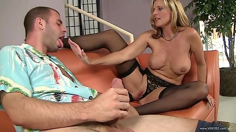 Great large juggs milf in stockings Jody West sucking a penis