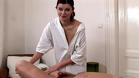 Redhead Benji giving a massage then shows bare tits while doing fellatio