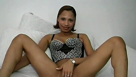 Solo black girl Senna in lingerie and wet pussy dildoed