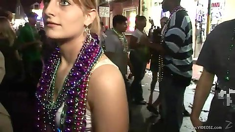 Great college party with mardi gras on the streets