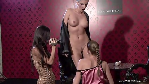 Threesome girls getting naked and pleasing self Nessa Devil and Eliska with Zuzana Z