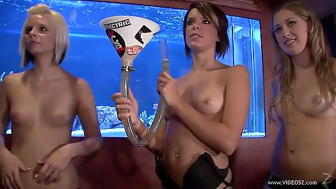 Naked girls have hsome fun at house party half naked