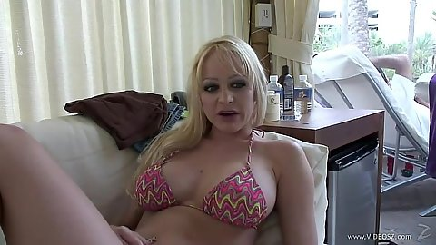Busty milf in sexy bikini top Ashley Roberts in vegas hotel room