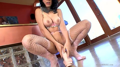 Sitting on dildo girl in fishnets Beverly Hills