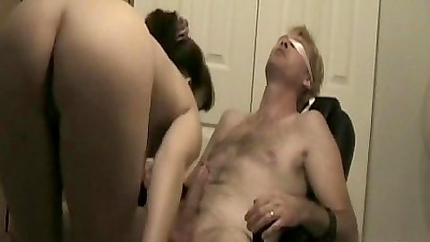 Wife Sweet Obsession ties her husband to the chair then sucks and screws