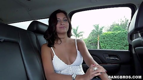 Backseat fully clothed amateur girl Jade Jantzen taking off her pants