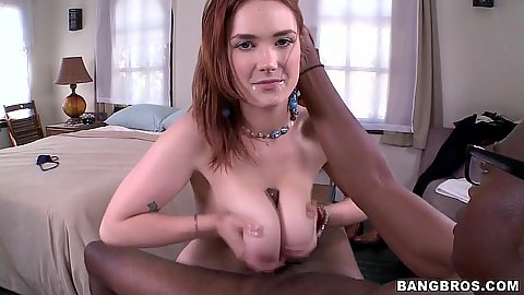 Black cock getting a sweet titty fuck from awesome busty redhead Siri