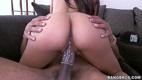 Cowgirl petite black girl Nadia Nicole sitting on dick