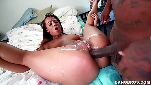 Squirting black girl Teanna Trump keeps on getting cock in deeper