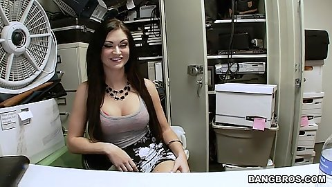 Fully clothed audition video from Kendall Karson behind the desk