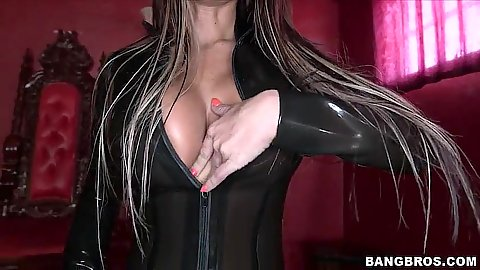 Sexy outfit big tits Brook Ultra dominatrix slut in her dungeon